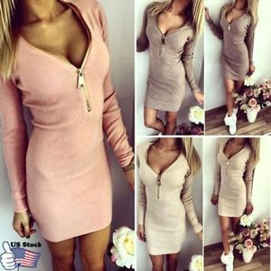 Ladies Zip V Neck Long Sleeve Winter Bodycon Party